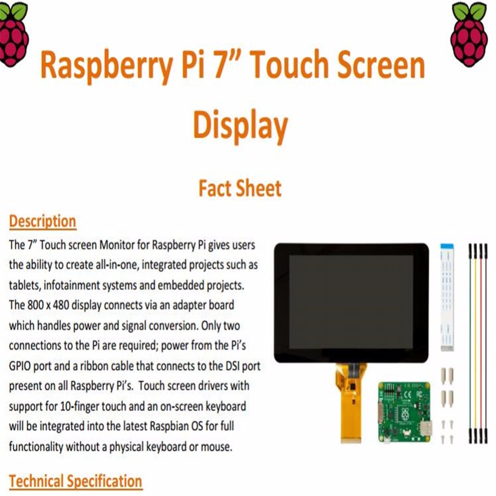 Raspberry pie 7 touch screen display