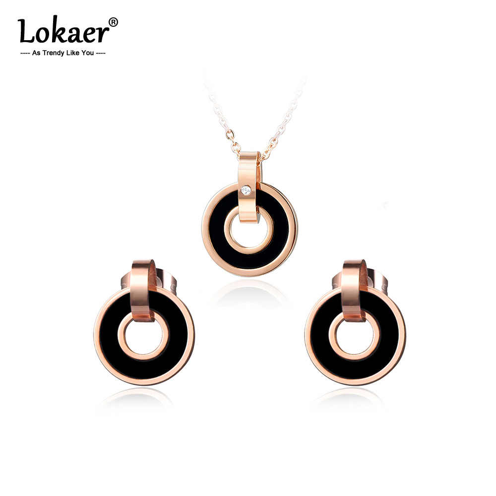 Lokaer Black/Pink Acrylic Double Circle Earrings & Necklace Sets Rose Gold Stainless Steel Wedding Set Jewelry For Women SE006