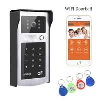Free Shipping Wireless Wifi Video Door Phone Intercom Metal Outdoor Camera With RFID Code Keypad Access