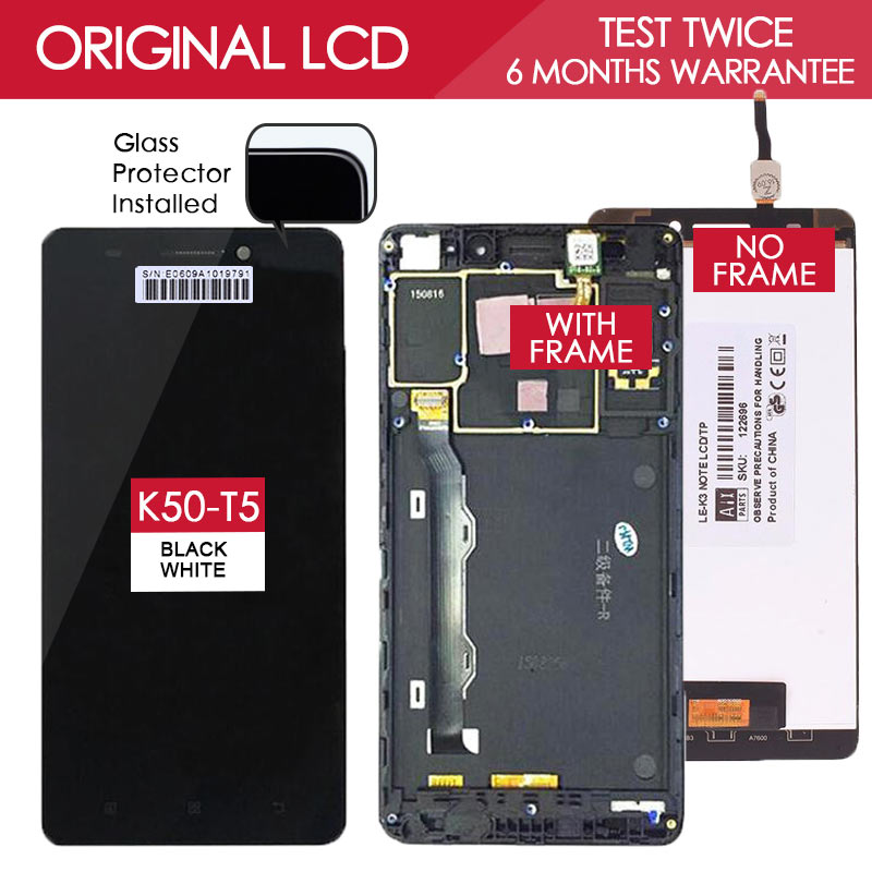 100 Tested Original TFT IPS 1920x1080 Display For LENOVO K3 Note K50 T5 LCD Touch Screen