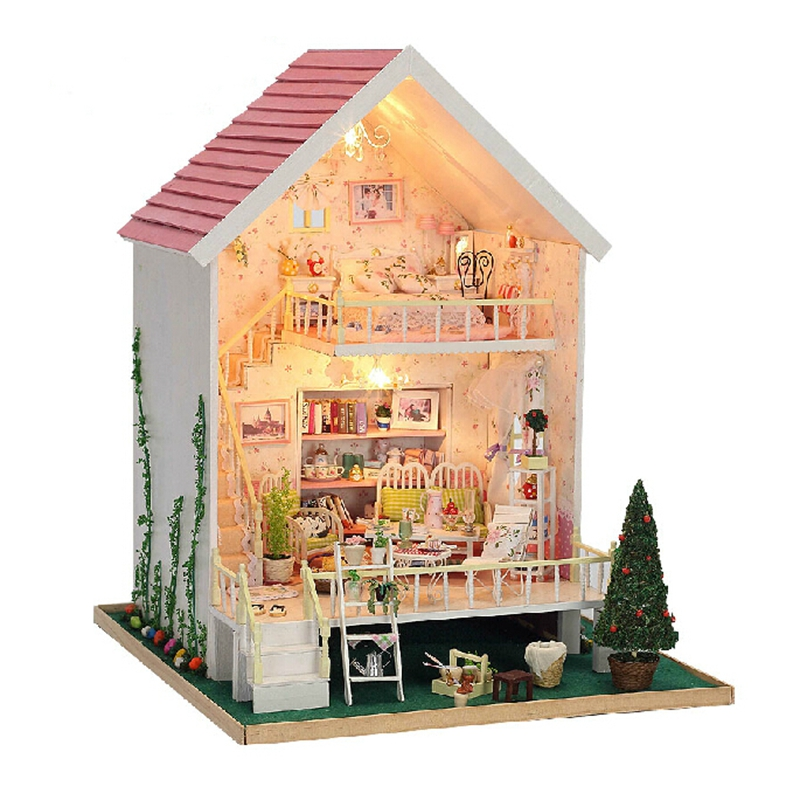 Christmas Gift Diy Doll House Assembling Handmade Model Building Kits Gift Belt 3D Miniature Wooden Dollhouse Toy Dolls d030 diy mini villa model large wooden doll house miniature furniture 3d wooden puzzle building model
