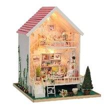 Christmas Gift Diy Doll House Assembling Handmade Model Building Kits Gift Belt 3D Miniature Wooden Dollhouse