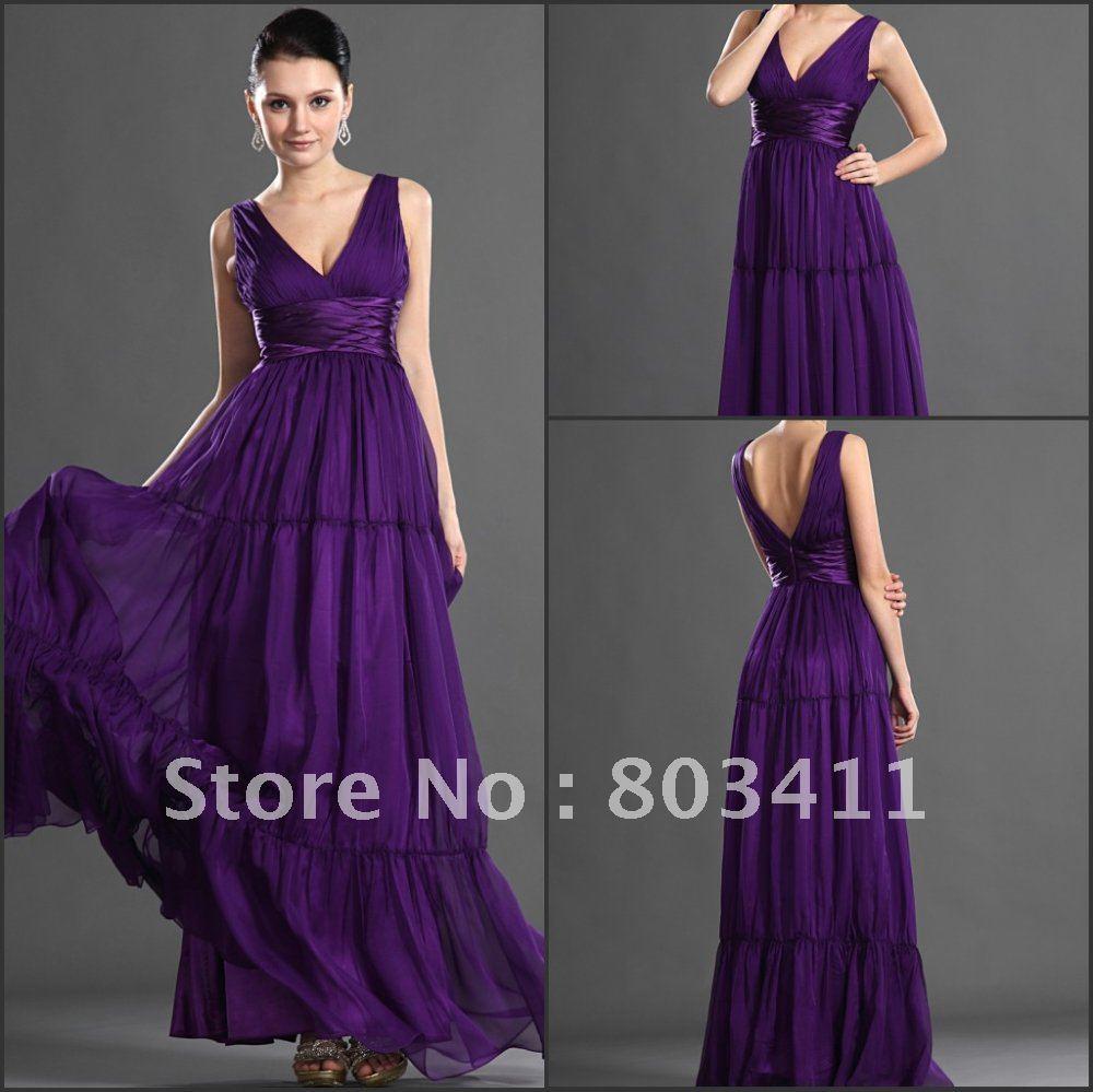 Бесплатная доставка, новое поступление, модное Сексуальное Фиолетовое шифоновое вечернее платье с v образным вырезом - 3