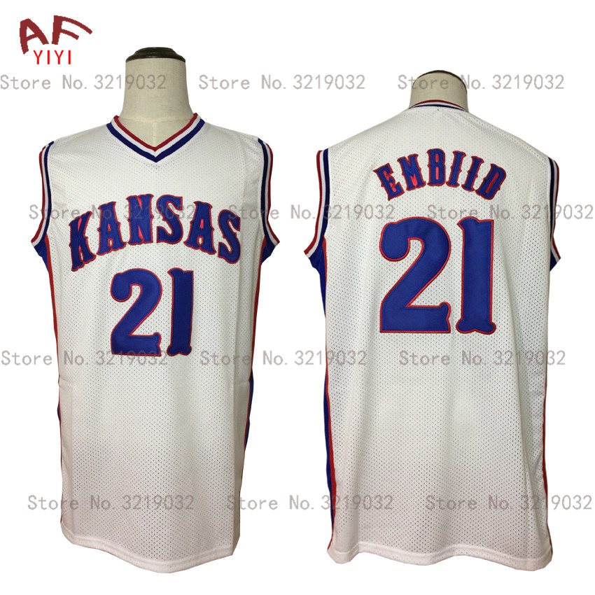 premium selection 93798 f2aac Aliexpress.com : Buy Cheap Mens New Joel Embiid Throwback Basketball Jersey  21 Kansas Jayhawks College White Stitched Sewn Retro Shirts Free Shipping  ...