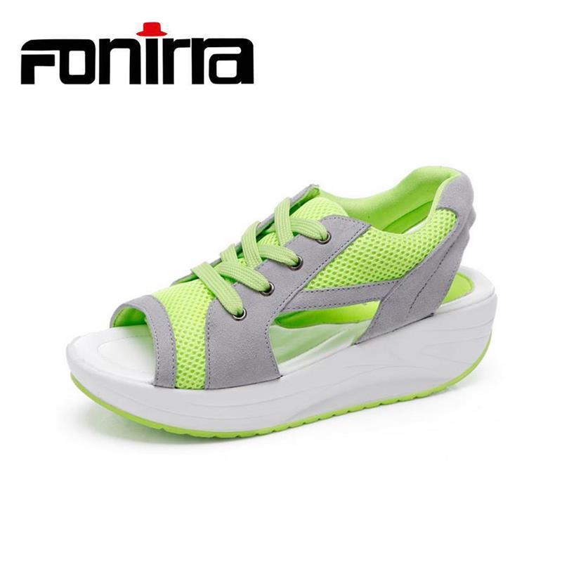 FONIRRA Women's Sandals Lace Up Mesh Breathable Casual Shoes Women Ladies Wedges Sandals Lace Platform Sandalias 022