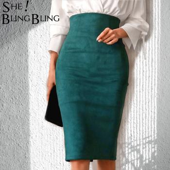 SheBlingBling spódnice w stylu empire wiosna sztuczny zamsz ołówek wysokiej talii Bodycon podział grube rozciągliwe seksowne spódnice kolano długość Plus rozmiar tanie i dobre opinie Poliester NONE WOMEN C86411 Y Stałe vintage Spring Autumn Winter Sexy Skirt Knee Length S-5XL Plus Size