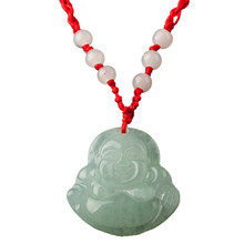 SAF-Red String Green Faux Jade Buddha Pendant Jewelry Necklace(China)
