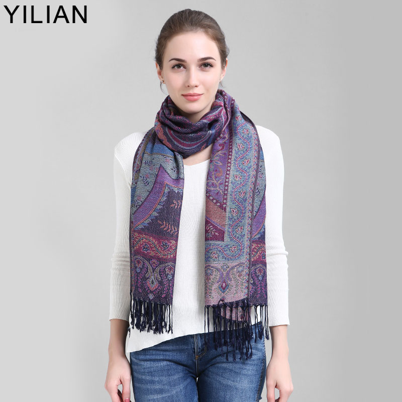 YILIAN Scarf Luxury Brand Hot Sale Kvinnor 200 * 70cm Oversize Cotton Scarf Smooth Touch Scarves Chic Plant Pashmina JB010