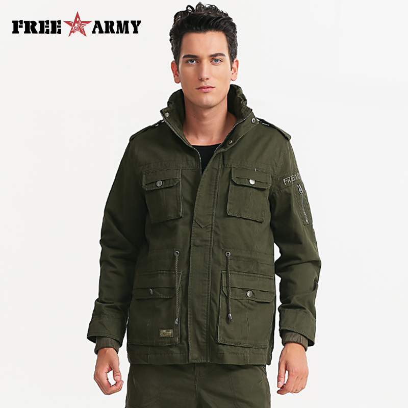 Mens Green Military Jacket Winter Cargo Plus Size M 4XL