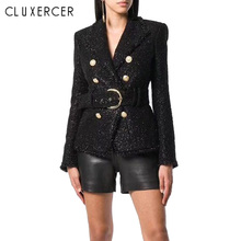 Classic Black Blazer Women 2019 Spring New Slim Double Breasted Tweed Blazer Mod