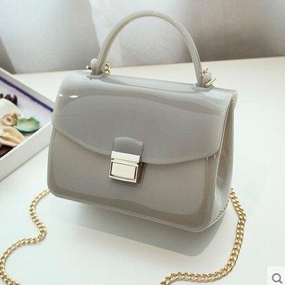 Summer 2016 candy color jelly transparent crystal messernger bag Women Bag Chain female crossbody bag PVC