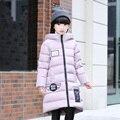 Boa qualidade Crianças Outerwear Inverno 2016 Do Bebê Meninas Para Baixo Casacos Jaqueta Estilo Longo Espessamento Quente Crianças Casaco à prova de Neve Ao Ar Livre