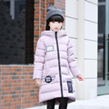 Buena calidad de Los Niños Ropa de Invierno 2016 Niñas de Down Abrigos Chaqueta de Estilo Largo del Espesamiento Caliente Niños Abrigo a prueba de Nieve Al Aire Libre