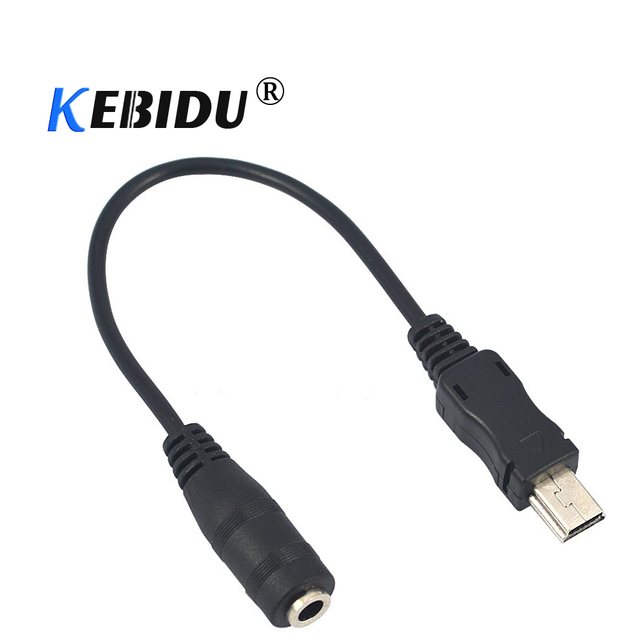 kebidu Mini USB Male to 3.5mm Jack Female Audio Cable Cord for Active Clip Mic Microphone Adapter for GoPro Hero + Sports Camera