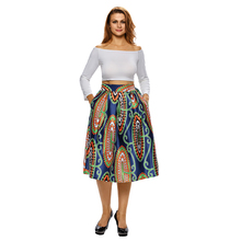 2017 women sweet mid-calf floral skirt elastic waist pockets buttons design ladies summer casual streetwear skirts