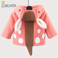 Cute Deer Boys Coat Outerwear Cartoon Deer Ear Hooded Pus Velvet Children Warm Jacket Autumn Winter Kid's Clothing Boy Coats