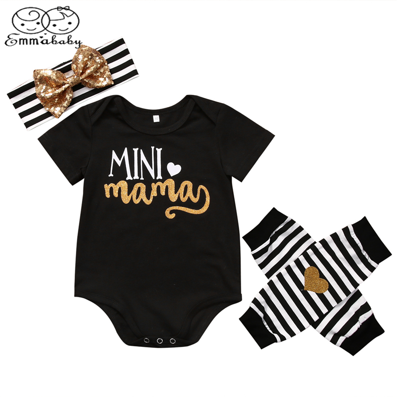 Emmababy Baby Girl Clothes Set 4pcs Newborn Infant Kids Cute Baby Girls Bodysuits Leg Warmer Headband Clothing Outfit Sets 4pcs set newborn baby clothes infant bebes short sleeve mini mama bodysuit romper headband gold heart striped leg warmer outfit