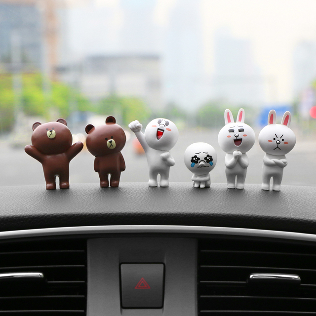 6pcs/set Car Decoration Lovely Mini Rabbits and Bears Figurines Funny Dolls Cartoon Animal Car Interior Accessories Ornaments