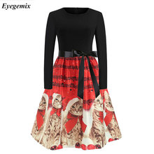 Fashion 2018 Animal Christmas Party Dresses For Women 50s 60s Vintage Print Cute Cat Elegant Slim Long Sleeve Dresses Sexy Dress(China)