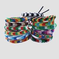 12 unidades/pacote Bohemian Pulseiras Rainbow Artesanal Tecer Corda Trançada Corda Vertente Pulseira Da Amizade Pulseira Charme Da Moda