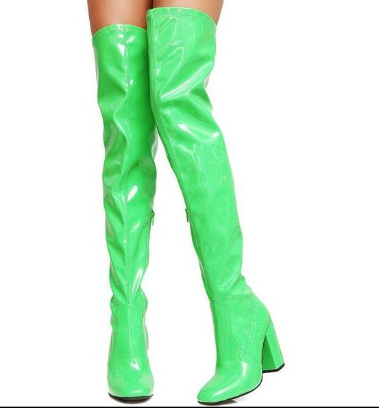 Spring New Hot Woman Fluorescence Green/pink/gray/yellow/black Candy Color Round Toe Zip Patent Leather Pu Over The Knee Boots free shipping new fashion pu black yellow pink candy color mini women simple cheap messange bags handbags bb015