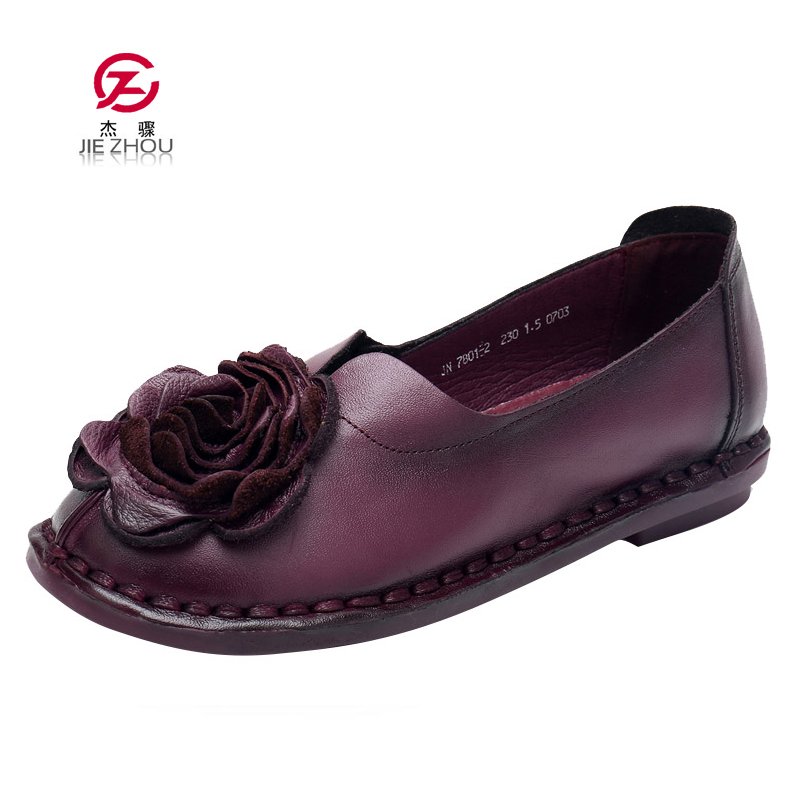 Fashion Woman Flat Shoes Genuine Leather Women Brand Casual Shoes Loafers Handmade Flower Flats