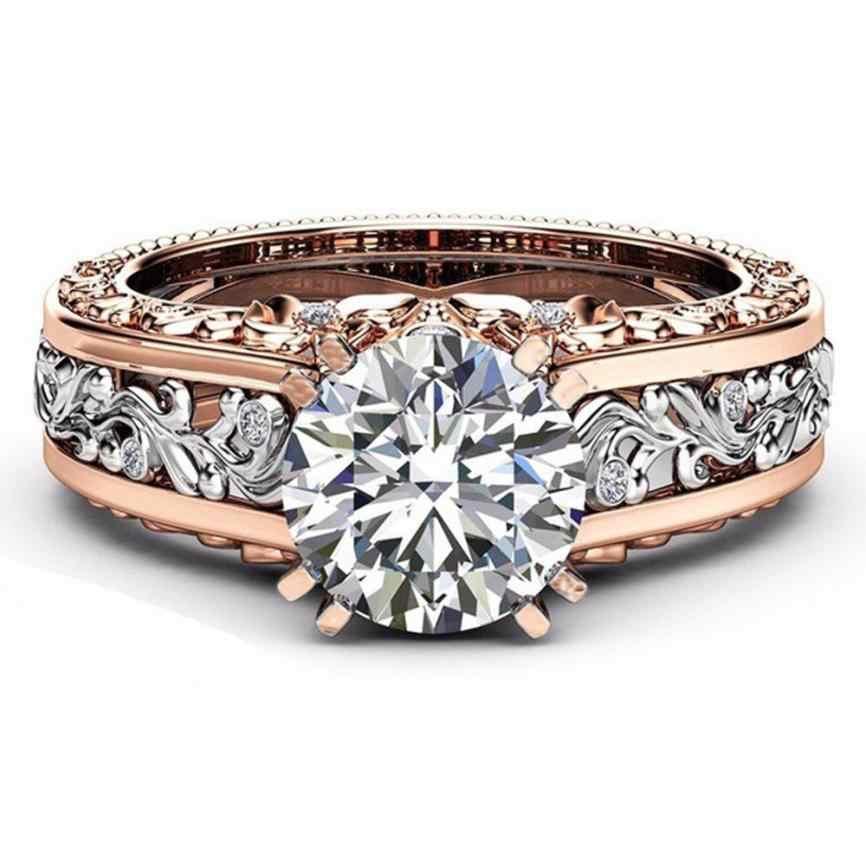 Thời trang Phụ Nữ Nhẫn Màu Sắc Đẹp Tách Rose Gold Aneis Cưới Tham Gia Hoa Ring Thời Trang Đồ Trang Trí Anillos Nhẫn