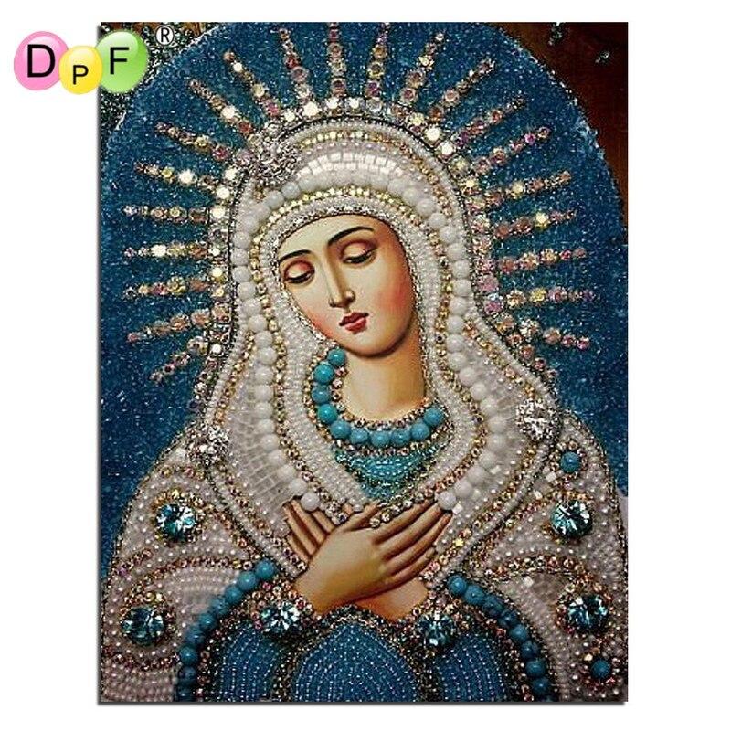 Купить на aliexpress DPF Алмазная вышивка 5D круглая алмазная живопись и diy Алмазная Живопись Вышивка крестом домашний декор мозаика религиозная лучшая для подарк...
