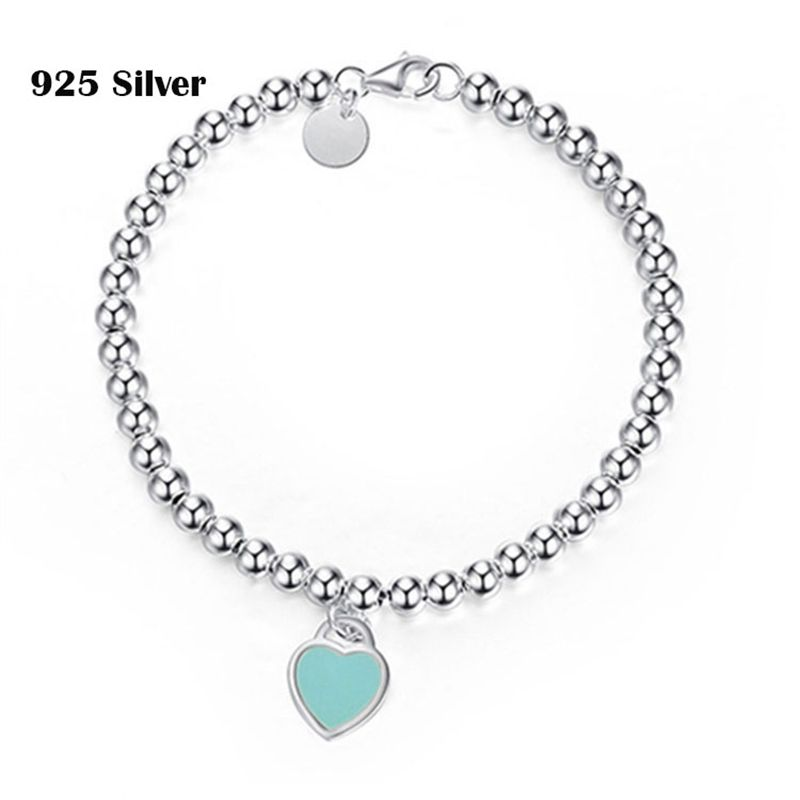 The Girl s Gift S925 Sterling Silver Bracelet Enamel Heart Shaped Silver Jewelry Beloved Woman