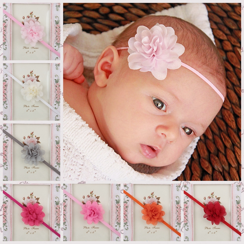 Hot Sale Newborn Baby Girl Mini Chiffon Flower Headband Cute Baby Hairband Hair Accessories Infant Girl Headdress free shipping hot sale new women hat fascinator cute girl pink hair accessory hair fascinator hat beautiful hairband hair clips