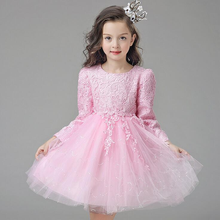 White/Pink Tulle Autumn Baby Girl Wedding Dress Princess