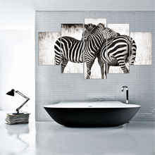 Modular Canvas Painting Two Zebras Animal Unframed Art Print Poster HD  Canvas Picture Wall Sticker Home Decoration For Room 5pcs Part 43