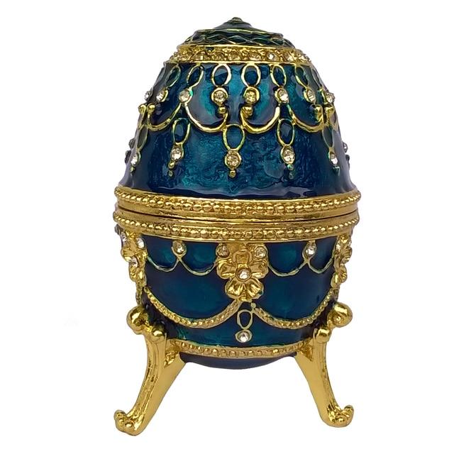 bejeweled faberge egg metal jewelry box enameled trinket box
