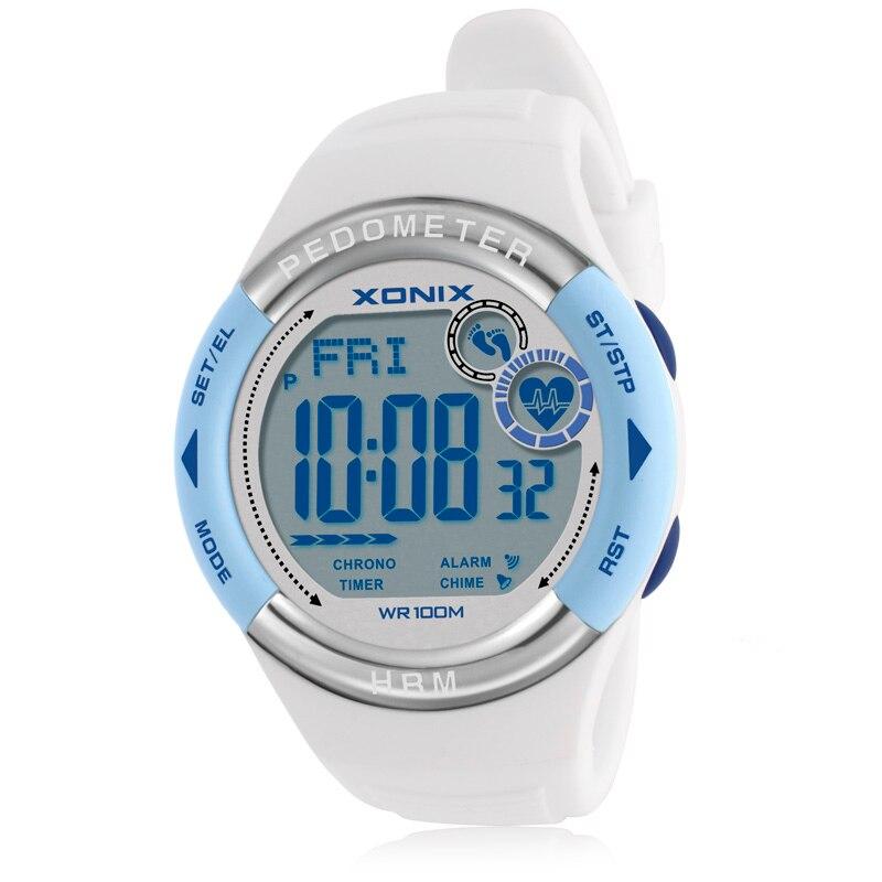 Hot XONIX Pedometer Heart Rate Monitor Calories BMI Women Sports Watches Waterproof 100m Digital Watch Running
