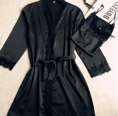 NEW 2016 Autumn Spring women's sexy black lace Robe ladies two piece  Sexy Lingerie Sleepwear Bathrobe M-XXL