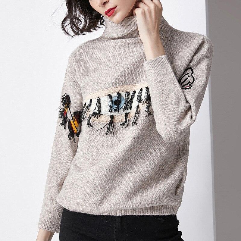 2019 Новый женский ленивый стиль Тяжелая вышивка вышитый глаз узор вязаный свитер с Ретро длинными рукавами и длинными рукавами