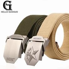 Hot male tactical belt Top quality 4 mm thick 3.8cm wide canvas belt For men NO5 Automatic buckle Man extended belts cummerbunds