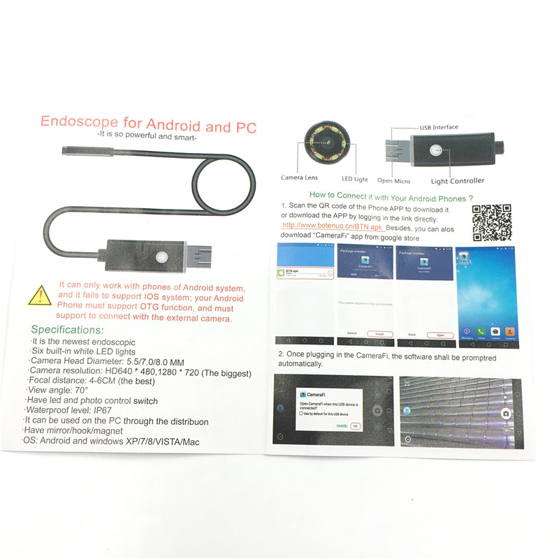 1m 2M 7mm Lens 6 LED 2 IN 1 Android/PC 720P HD Endoscope Tube Waterproof  Snake Bore-scope PC USB Inspection Mini Camera
