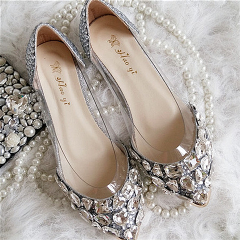 2015 New Wedding Shoes Handmade Silver Rhinestone Flats Elegant Lady Dress  Shoes Transparent Boat Bridal Shoes In Womenu0027s Flats From Shoes On  Aliexpress.com ...