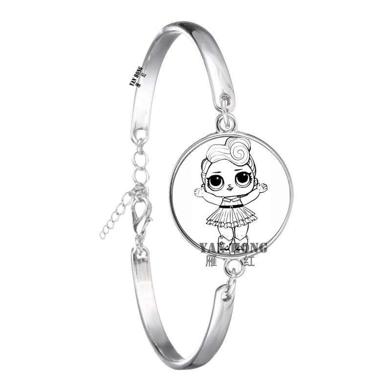 Красивый кукольный стеклянный браслет 20 мм стеклянный купол мультфильм ювелирные изделия круглый стеклянный браслет детский очаровательный подарок - Окраска металла: 7
