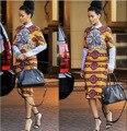Африка Базен Riche Африканский Платье Топ Моды Хлопок Полиэстер Женщины Зима 2016 Новый Взрыв Национальных Tee Геометрические Печати