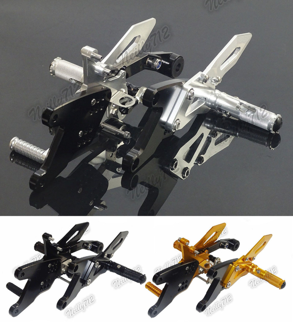 Motorcycle CNC Adjustable Rider Rear Sets Rearset Footrest Foot Fold Rest Pegs For Yamaha YZF R1 R1M 2015 2016 waase moto cnc aluminium adjustable rider rear sets rearset footrest foot rest pegs for kawasaki z750 z750s 2004 2005 2006