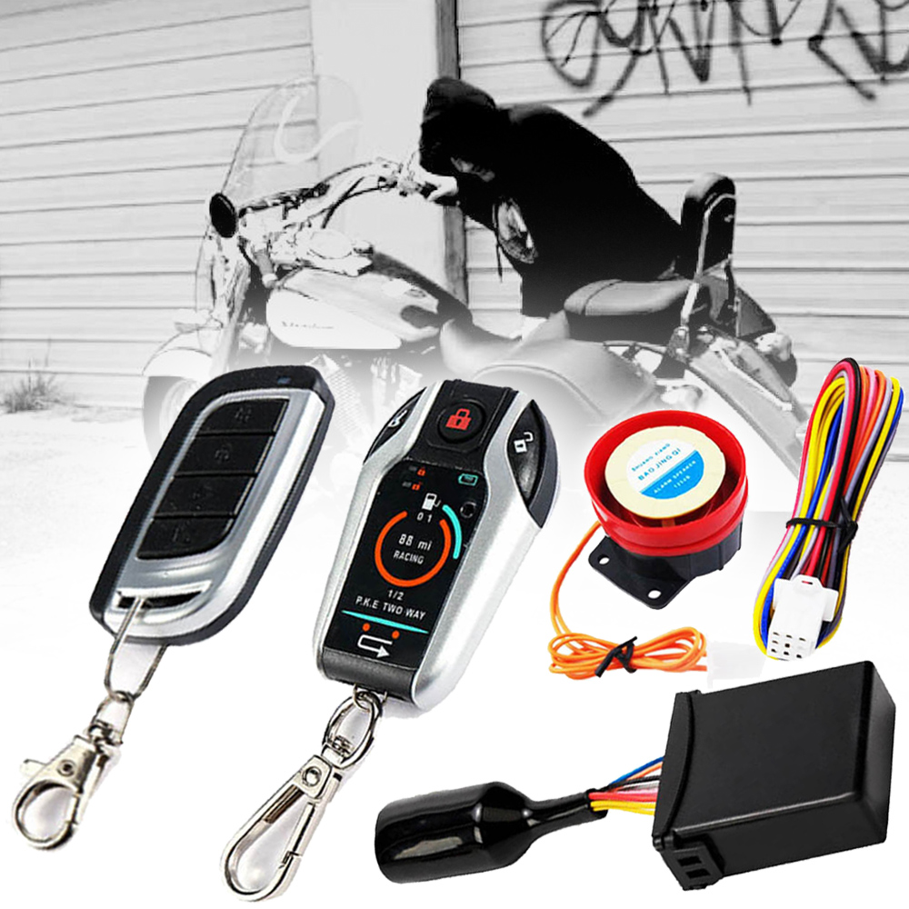 1PC Two Way Motorcycle Security Alarm System Anti-theft Remote Engine Start Stop With 105-125 DB Powerful Horn Within 300M