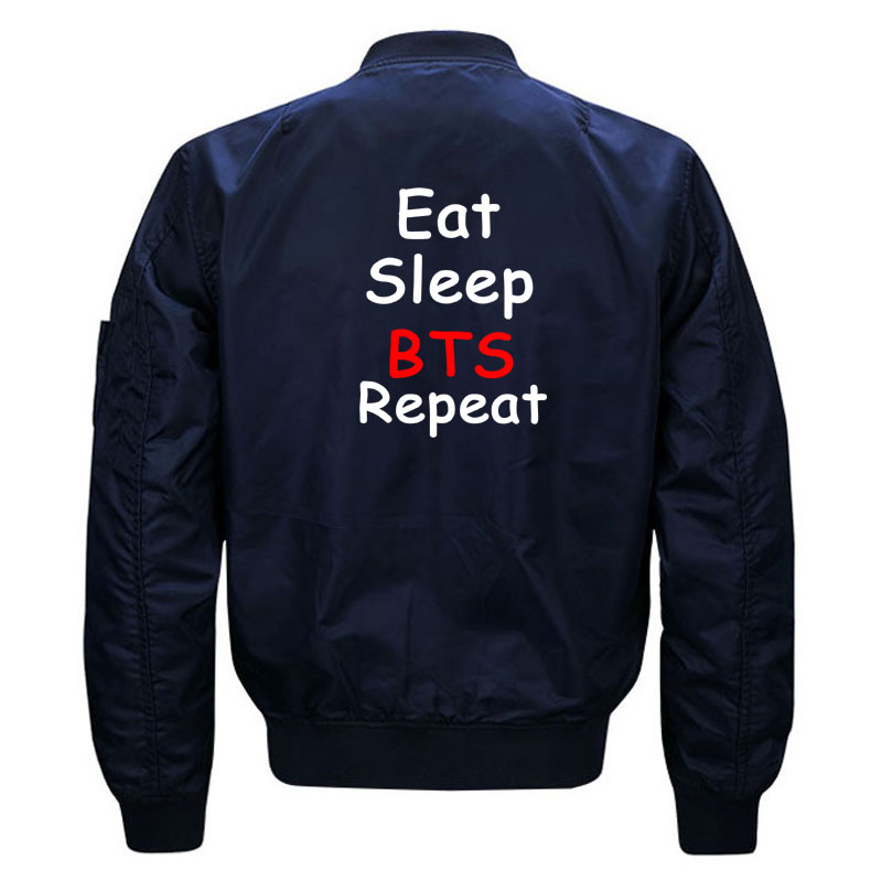 Cute Kpop BTS Aesthetic Bomber Jacket for Women and Men Kawaii Girls Eat Sleep BTS Repeat Quilted Bomber Jackets Plus Size S-5XL 3