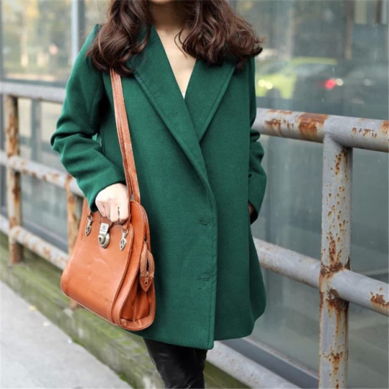 Fashion Korean Vintage Bodycon Streetwear Coat Casual Windbreaker Elegant Women Toyouth Long Wool Navy Blue Coat