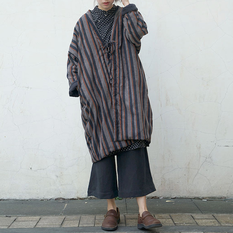Johnature Women Belt Striped Parkas 2019 Winter New V Neck Corduroy Long Sleeve Vintage Coat Warm