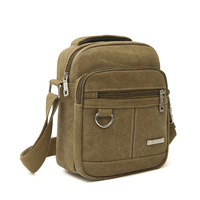 Fashion Canvas Men Zipper Shoulder Bag High Quality Crossbody Bag Black Khaki Brown Handbag Men Bag