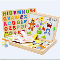 Magnetic wooden jigsaw puzzle kids toys alphabet Tangram board cartoon educational learning toy drawing baby toys for girls boys