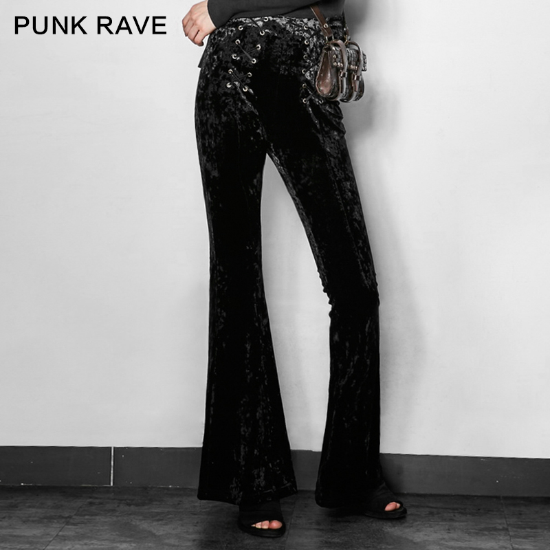 Halloween Punk Pk Diseño Lace Nuevo Negro Gótico Pantalones 2017 104 Up Mujeres Rave Flare 6067qfAn