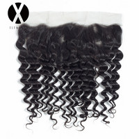 X Elements Hair Deep Wave 13*4 Lace Frontal Malaysian Non Remy Human Hair Natural Color Hair Extensions